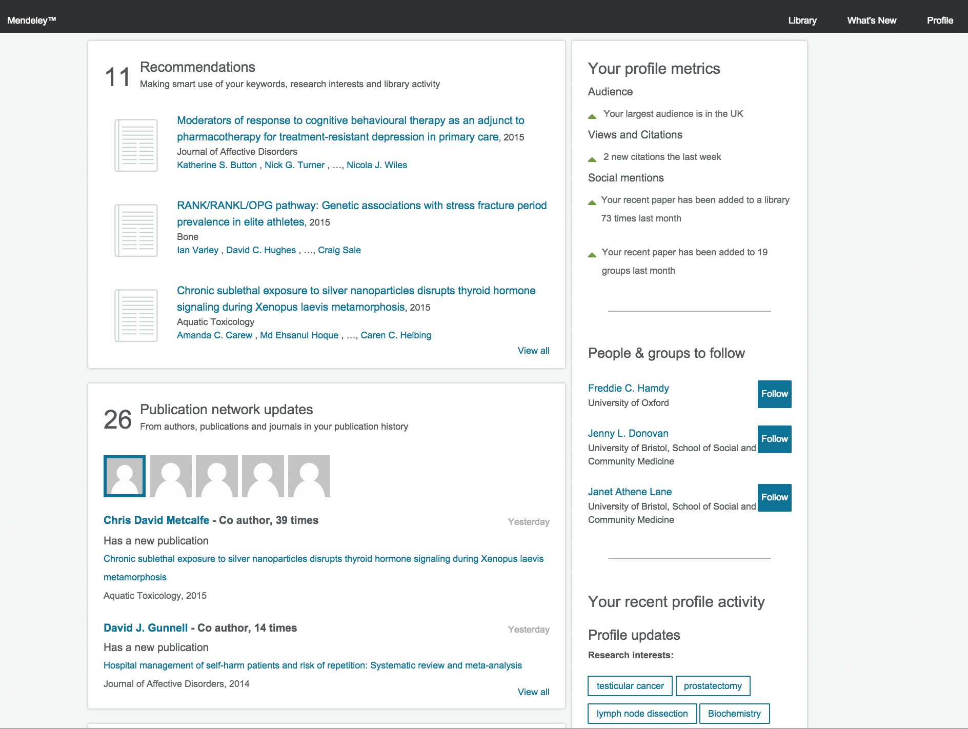 A wireframe for some of the new Mendeley features using Axure